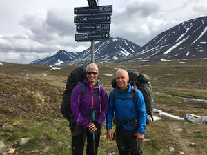 Pia och Hans Johansson under vandringen sommaren 2017. Foto: Privat