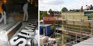 I juli 2007 var den gamla simhallen från 1973 bara ett skal. I källaren (till vänster) låg den gamla skylten.