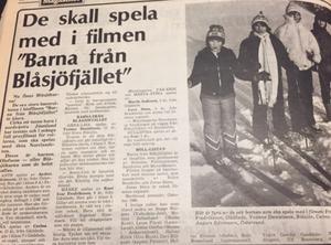 Rollerna i filmen Barnen från Blåsjöfjället presenterades. (LT 27/2 1980)