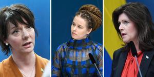Matilda Ernkrans, ministern för högre utbildning och forskning (S), Kultur- och demokratiminister Amanda Lind (MP) och Arbetsmarknadsminister Eva Nordmark (S).