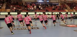 Hela laget stormar not Malte Lundmark efter det att han spelat in det avgörande målet 19.37 in i sista perioden mot Växjö, som förde laget till slutspel. Foto: Privat