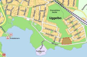 Äldreboendet är tänkt att ligga strax norr om Sjövägen på Uggelbo. Illustration: V-Dala Miljö & Bygg