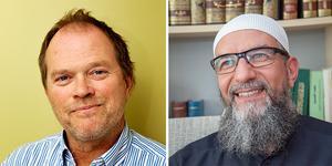 Professor Dennis Töllborg och Gävleimamen Abo Raad. Foto: Göteborgs universitet och Erik Wikström
