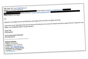 Skärmdump på mejlet från personalchefen Roger Fält.