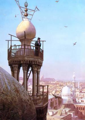 En böneutropare kallar från sin minaret. Målning av den franske konstnären Jean-Léon Gérôme från 1879.