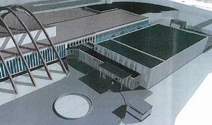 Den nya bassängen byggs norr om befintlig anläggning. Illustration: agnasARK.