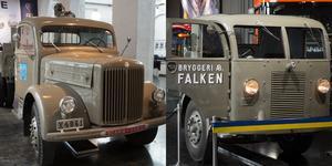 Till vänster en torpedlastbil som var vanliga på tidigt 1900-tal. Falken till höger som är en bulldogg, eller frambyggd lastbil, vilket är den vanligaste typen av lastbil idag.