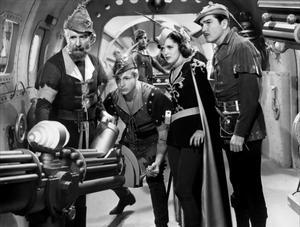 Frank Shannon, Buster Crabbe, Carol Hughes och Roland Drew i filmserien
