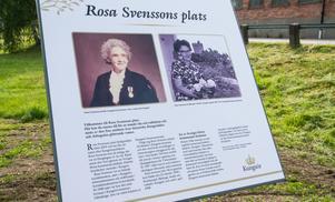 """Här kan turister och andra som är intresserade läsa en sammanfattning av vem Rosa Svensson var och hennes betydelse i Kungsör. """"Det var en kvinna med skinn på näsan"""