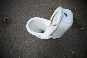 Använt toalettpapper har lämnats till synes demonstrativt mellan sitsen och locket. I botten finns ytterligare bevismaterial.