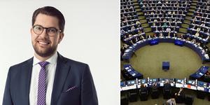 """""""Enbart Dalarnas läns skattebetalare betalar cirka 580 miljoner per år i EU-avgift"""" skriver partiledare Jimmie Åkesson (SD). Foto: Pressbild SD/TT/Montage"""