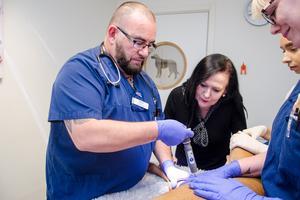 Här får hunden Armaan det första vaccinet i Sverige mot cancer av veterinären Patricio Rivera.