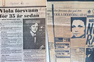 Utklipp från tidningar om Violas försvinnande.