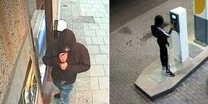 Rånarna tankade en bil och tog ut pengar med offrets bankkort. Bilder från polisens förundersökning.