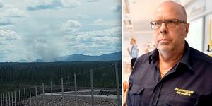 En läsares bild på rökmolnet som syntes från flygplatsen i Sälen. Per Hampus, räddningschef i Malung-Sälen, berättar att röken kommer från en planerad bränning.
