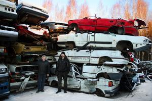 Kjell Söderberg och Fredrik Höglund på Hammarskrot bildemontering har ställt sina skrotade bilar på hög i väntan på att skrotningspriserna ska gå upp. Samtidigt får de nästan inte in några bilar för skrotning.