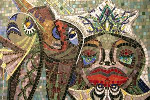 Del av Gösta Bohms mosaik i Hudiksvalls badhus.
