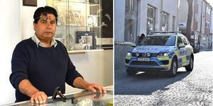 Det ligger hela fyra guldbutiker på gågatan, vilket gör stadskärnan åtråvärd för rånare. Inte minst i ett allt mer kontantlöst samhälle tror guldsmeden Yosef Abdull Ali.