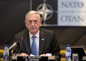 Försvarsminister Jim Mattis avgår nu. (AP Photo/Virginia Mayo, Pool)