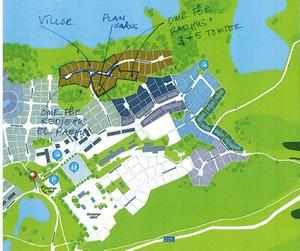 Kommunen och Glasbergabolaget vill ändra delarna av detaljplanen för Glasberga sjöstad etapp 2 så att det kan byggas radhus på flera tomter samt att kravet på souterrängvåning för ett antal villor stryks.Skiss: Södertälje kommun