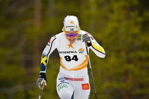 Hanna Falk i en sprinttävling på Idre Fjäll i början av säsongen.