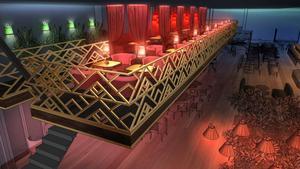 Skiss på Västerås nya nattklubb, Royale, som kommer att ha en VIP-balkong. Bild: Royale