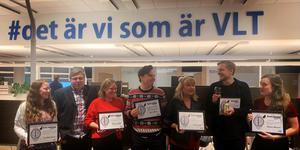 Pristagarna på VLT:s gala. Från vänster: Terese Westberg Sunesson, Tony Persson, Mikaela Lundblad, Oliver Åbonde, Lotta Jansson, William Holm och Matilda Molander.