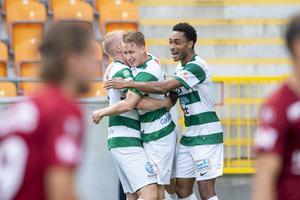 Brian Span spelade fram till Emil Skoghs (mitten) 2–0-mål mot Örgryte.  Foto: David Lidström Hultén/ BILDBYRÅN