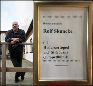 De kapade köerna på Skunckes klinik gav positiva flöden till andra kliniker på sjukhusen, som slapp flaskhalsar i systemet. 1996 utsågs han därför till hedersortoped vid S:t Görans ortopedklinik.