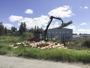 Under några dagar var två skogsmaskiner sysselsatta med att ta ned all skog i området som nu ska omvandlas till ängsmark.