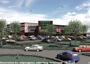 Det här är en vision som Sweco Architects har tagit fram för fastighetsbolaget NHP Östersund AB:s räkning. Handelshuset planeras att uppföras mitt emot byggvaruhuset Fresks.