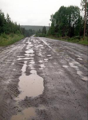 Tung trafik gör att grusvägen går sönder. Nu vill de boende vid Flåsjön att vägen asfalteras.