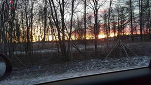 Solnedgång vid Sundsvall Timrå Airport.