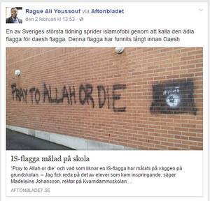 Rague Ali Youssouf anklagade Aftonbladet för att sprida islamofobi när de kallade flaggan på bilden för IS-flagga.