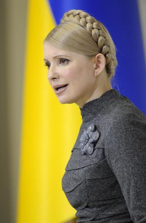 Blågul. Premiärminister Julia Tymosjenko hoppas bli Ukrainas nästa president. FOTO: SCANPIX