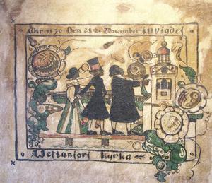 År 1934 målade Rune dessa kurbitsar direkt på den putsade väggen i prästgårdens bakstuga.