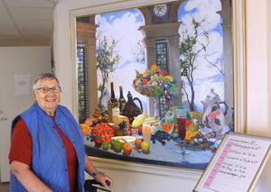 Sonja Gustavsson, som bor på Ringshög i Rengsjö, tycker mycket om konstverket Stilleben.