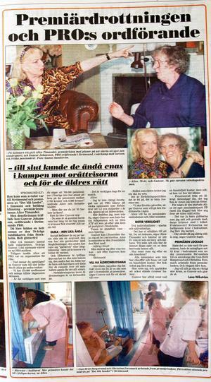 Lena Wikströms artikel från den 29 april 1994, där hon dokumenterade mötet mellan Alice Timander och PRO:s dåvarande ordförande i Strömsund, Gunvor Johansson.