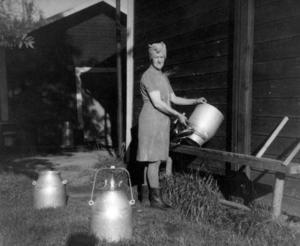 Rörösjön i Jämtland 1949. Anna Andersson ställer en mjölkflaska på tork på gården där hon arbetar med att sköta djuren.