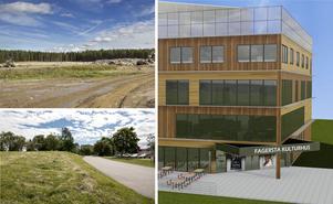 Marken bereds på Fårbo för det kommande storköket (överst till vänster). En av platserna för ett tänkt flerfamiljshus (nere till vänster). Fagerstas planerade kulturhus är en annan kommande storinvestering.