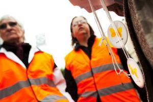 Förbipasserande på gågatan i Östersund fick i går en reflex av Riksföreningen för trafik-, olycksfall- och polioskadade, RTP.