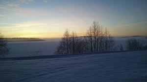Solnedgång över Insjön.