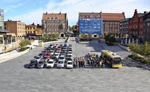 Den här bilden tog Östersunds kommun för att visa hur mycket plats olika transportmedel tar.