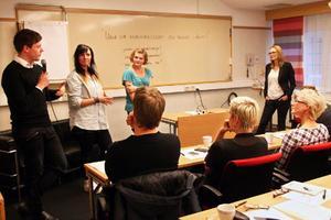 Marcus Byman, Jessica Scott och Alva Blomqvist berättade om sina tankar kring utveckling i länet tillsammans med moderator Jytte Rüdiger.