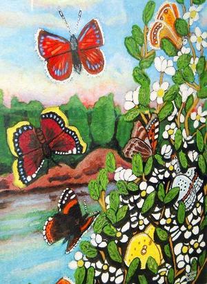 Birgitta Brandt från Östersund ställer ut gouacher och akvareller på Folkets hus konsthylla.