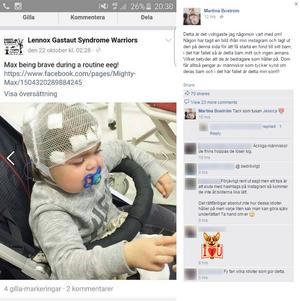 Om nyfikna följde den här länken kom de vidare till en fond där de kunde skänka pengar. Någon försökte tjäna pengar på Martina Boströms sjuka fyraåring Maximiliam.