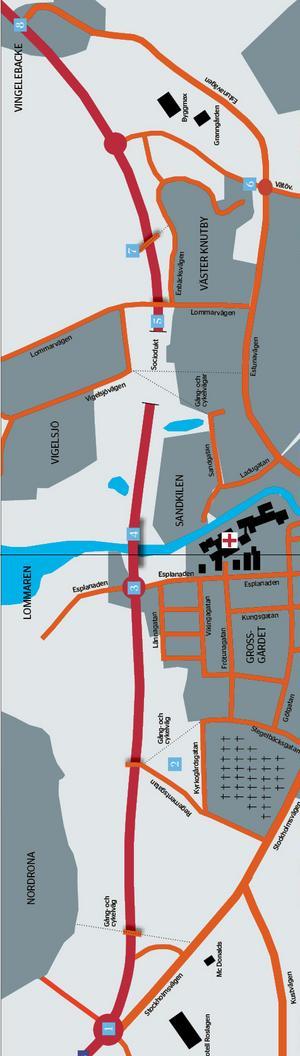 1. Rondellen vid södra infarten.2. Regementsgatan förlängs till Campus Roslagen. Stegelbäcksgatan mynnar ut i en gång- och cykelväg.3. Cirkulationsplats väster om sjukhuset.4. Bro över Norrtäljeån.5. Sociodukt.6. Rondellen med fyren kopplas ihop med Västra vägen.7. Gångbro.8. Estunavägen byggs om och ansluts till Västra vägen via en T-korsning. En avfart till Färsna planeras.