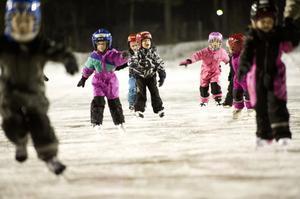 Ett 40-tal barn kom till skridskoskolan på Tansvallen under tisdagen.