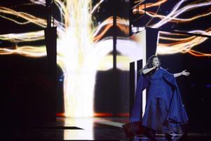 Ukrainas Jamala framför bidraget 1944 under onsdagskvällens genrep inför den andra semifinalen under Eurovision Song Contest (ESC) i Globen i Stockholm.