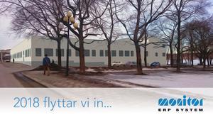 I april börjar ombyggnationen av före detta Åhléns varuhus som ska bli Monitors nya kontor med ny fasad enligt den här skissen från Trädgårdsgatan och Marknadsgatan.